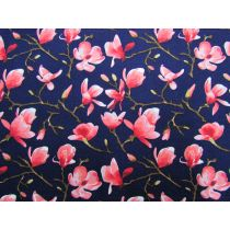 Spring Blossoms Cotton- Navy