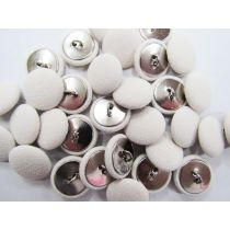Fabric Covered Fashion Buttons- Cream Crepe FB096