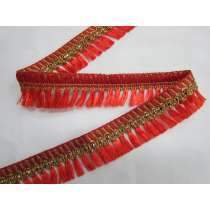 Gold Embroidered Tassel Trim- Red