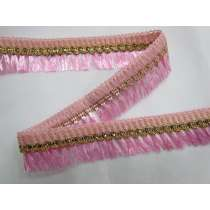 Gold Embroidered Tassel Trim- Pink