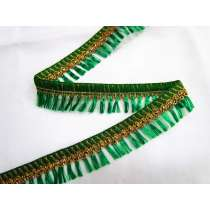Gold Embroidered Tassel Trim- Emerald