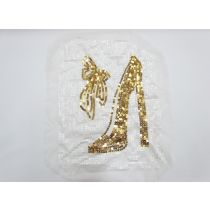 Heel & Bow Sequin Motif- White/Gold