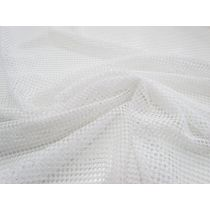 2way Stretch Checkerboard Mesh- Bright White