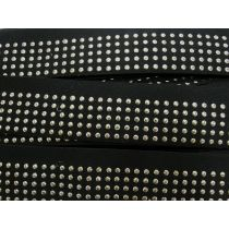 Embossed Stud Elastic- Gold on Black