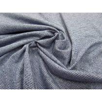 Light Stripe Knit Jersey- Blue Marle/White