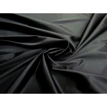 Delustered Lightweight Stretch Satin- Ebony Black