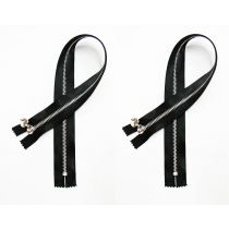 Satin Zip Pair- Closed End 45cm- Black- 2 zips for $5