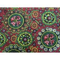 Wild Desert Flowers Cotton- Red