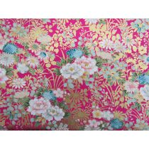 Japanese Golden Peony Cotton- Pink