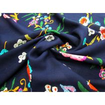 Exotic Flower Cuttings Rayon- Navy