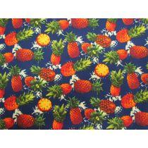 Pineapple Fiesta On Navy Cotton