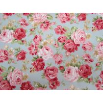 Prairie Rose on Grey Cotton