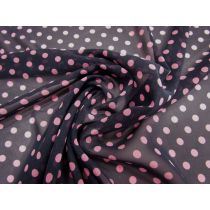 Spotted Chiffon- Pink on Black