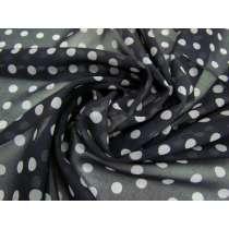 Spotted Chiffon- Grey on Black