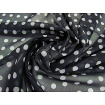 Spotted Chiffon- White on Black