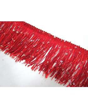 Sequin Fringe Trim- Red