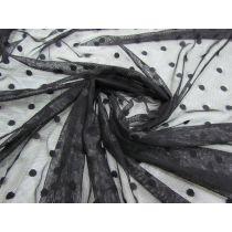 Simple Spot Stretch Mesh- Black #1493