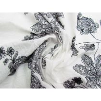 Enchanting Floral Embroidered Cotton- Creamy White #1787