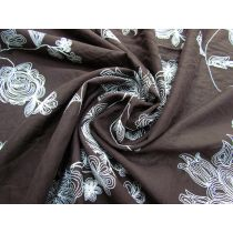 Enchanting Floral Embroidered Cotton- Woodland #1788