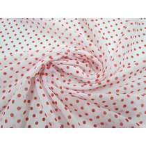 Polka Dot Chiffon- Red on White #1879
