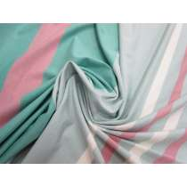 New Stripe Viscose Jersey- Blue / Pink #1946
