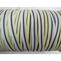 10mm Stripe Grosgrain Ribbon- Lemon/Navy