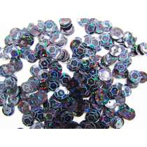 24gm Sequin Pack- Holographic Black- 8mm #002
