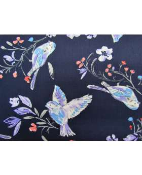 Bird Song Cotton- Navy