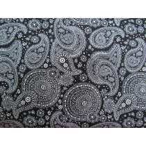Floral Paisley Cotton- Black