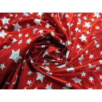 Holographic Stars Fog Finish Spandex- Red