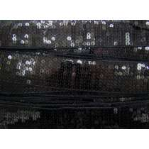 40mm Glomesh Sequin Trim- Black #075