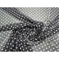 Polka Dot Stretch Mesh- Black #2384