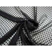 Satin Spot Silk Blend Chiffon- Black #2804