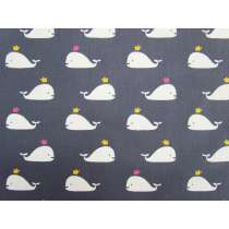 Happy Whales Cotton- Grey #2887