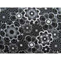 Black & White- Circle Flowers Cotton #2919