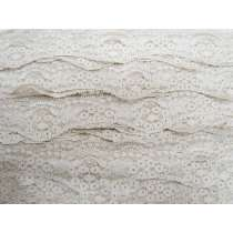 40mm Wave Edge Stretch Floral Lace Trim- Pearl Beige #273