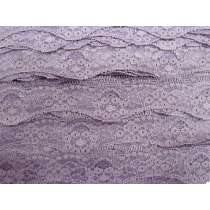 40mm Wave Edge Stretch Floral Lace Trim- Mauve #275