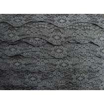 40mm Wave Edge Stretch Floral Lace Trim- Grey #276
