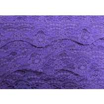 40mm Wave Edge Stretch Floral Lace Trim- Purple #278