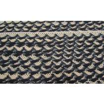 20mm Ziggy Cotton Lace Trim- Black / Natural #301