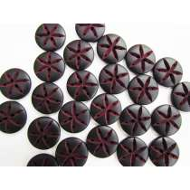 20mm Grooved Star Button- Maroon/Black FB167