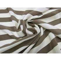 Chocolate Cream Stripe Silk Crepe de Chine #3394
