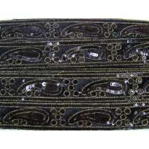 Soft Paisley Sequin Trim- Black #3436