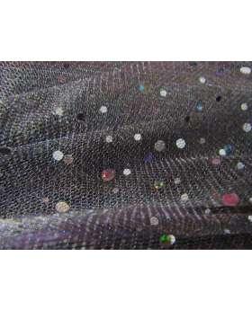 Sequins on Metallic Net- Black