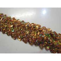 Holographic- Stretch Sequin Trim- 3 Row- Gold