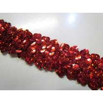 Holographic- Stretch Sequin Trim- 3 Row- Red