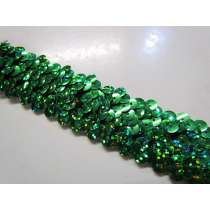 Holographic Stretch Sequin Trim- 3 Row- Green