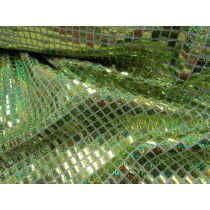 8mm Square Sequins- Lime on Silver
