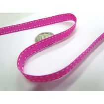 Stitch Ribbon 10mm- Fuchsia / White