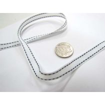Stitch Ribbon 10mm- White / Black